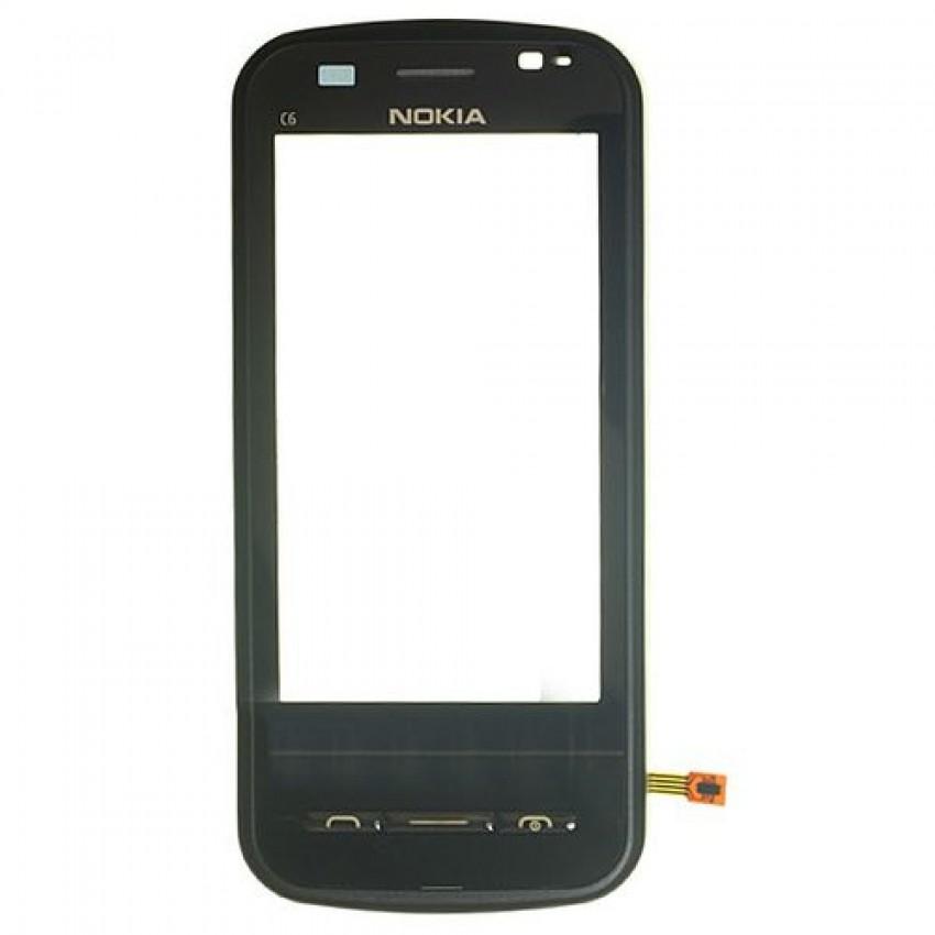 Lietimui jautrus stikliukas Nokia C6-00 su rėmeliu juodas