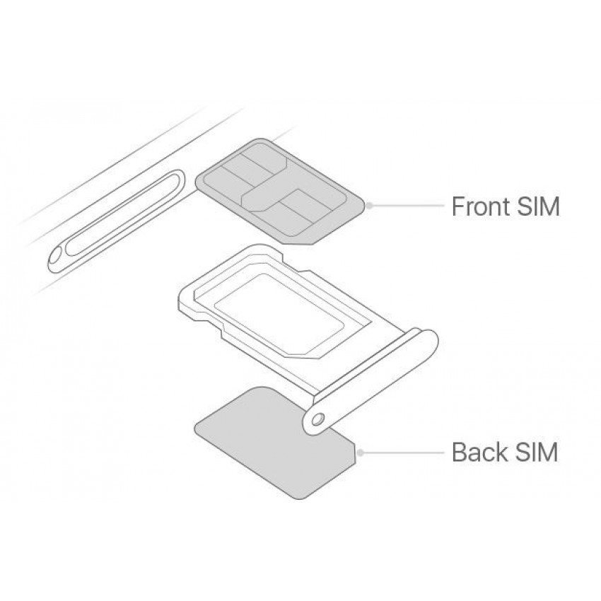 SIM card holder Apple iPhone 11 DUAL SIM white ORG