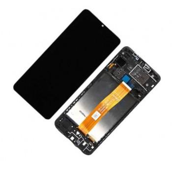 Ekranas Samsung A125 A12 2020 su lietimui jautriu stikliuku ir rėmeliu juodas originalus (service pack)