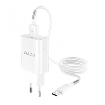 Charger Dudao + microUSB cable (2xUSB 5V 2.4A) white
