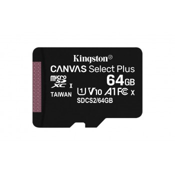 Atminties korta Kingston Canvas Select Plus MicroSD 64GB (class10 UHS-I 100MB/S)