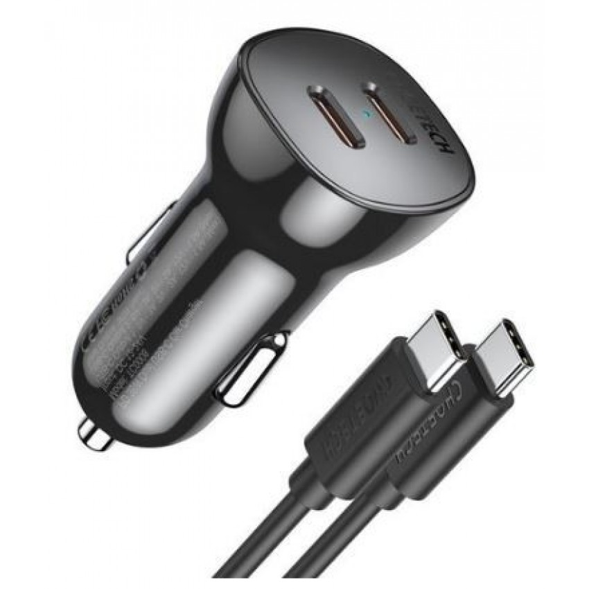 Car charger Choetech TC0008 (2xUSB-C 3.0A 40W) with Type-C cable black