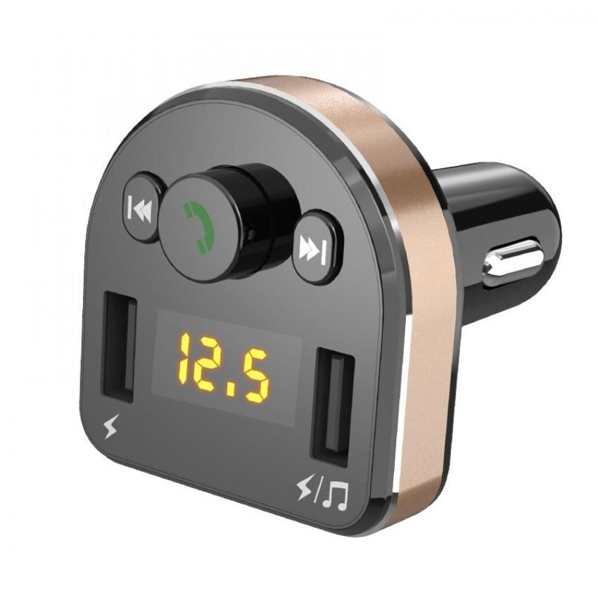 Car charger + FM transmiter Dudao (2xUSB,bluetooth, 3.1A) black