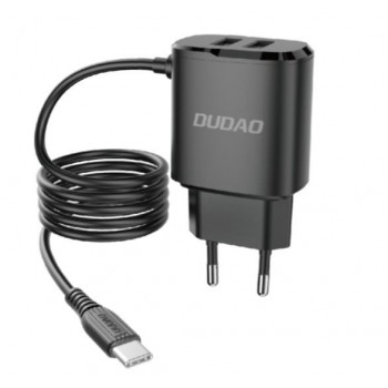 Charger Dudao A2Pro + type-C cable (2xUSB 5V 2.4A) black
