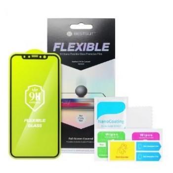 LCD apsauginis stikliukas Bestsuit Flexible Hybrid Glass 5D Apple iPhone XS Max/11 Pro Max pritaikytas dėklui juodas