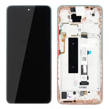 Ekranas Xiaomi Mi 10T Lite su lietimui jautriu stikliuku su rėmeliu rožinis originalus (service pack)